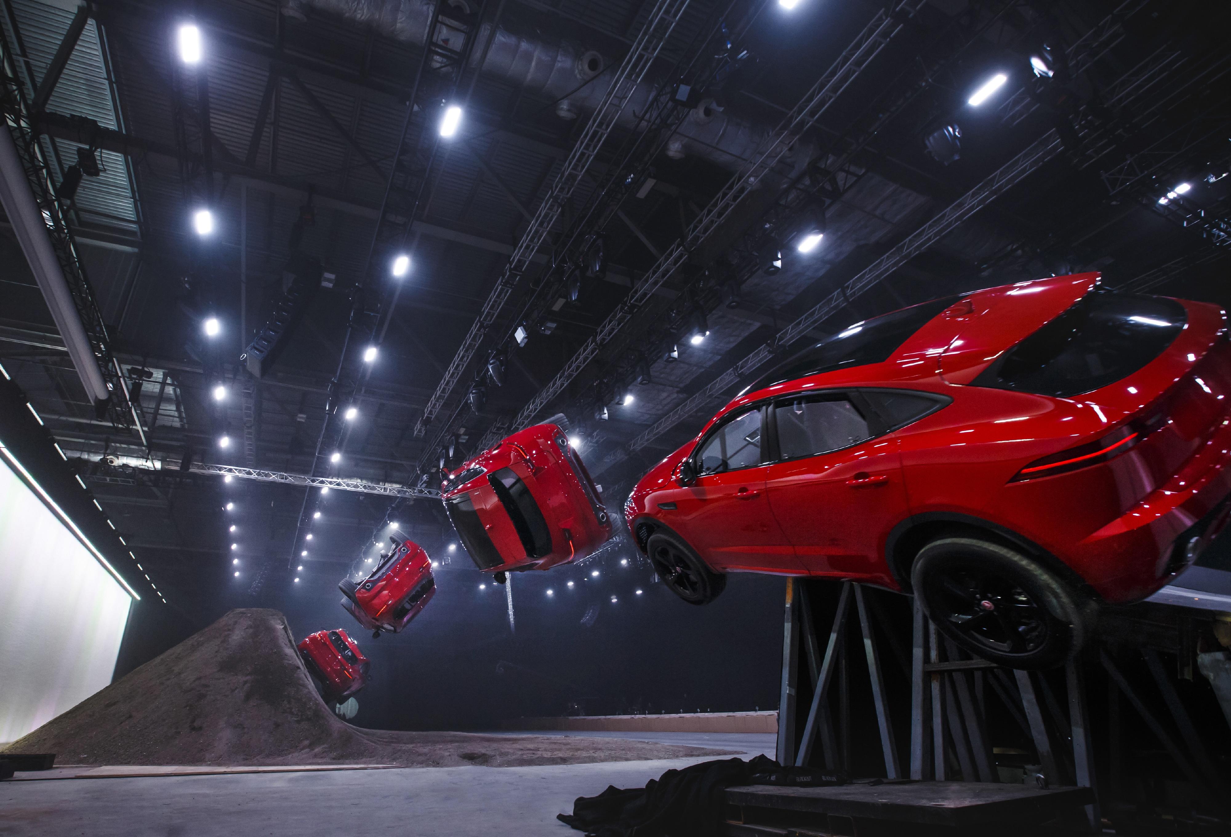 Jaguar E-Pace, jaguar, cars, suv, jump, stunt, roll, james bond, terry grant, car launch, motoring, coventry, automotive, car, cars, e pace