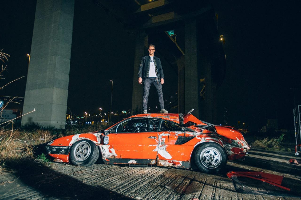 Simon Birch, artist, starving artist, car crash, art installation, car roll, Ferrari, Ferrari Mondial, Italian car, super car, supercar, classic car, retro car, rare car, motoring, automotive, car, cars